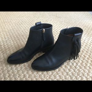 Valentino Pebbled Leather Black Ankle Boots 37.5